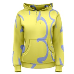 Doodle Shapes Large Flower Floral Grey Yellow Women s Pullover Hoodie