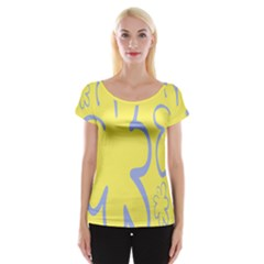 Doodle Shapes Large Flower Floral Grey Yellow Women s Cap Sleeve Top by Alisyart