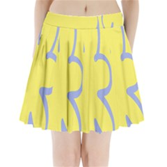 Doodle Shapes Large Flower Floral Grey Yellow Pleated Mini Skirt