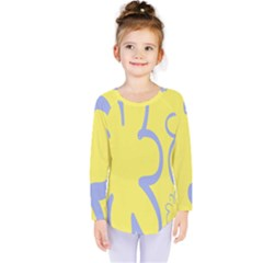Doodle Shapes Large Flower Floral Grey Yellow Kids  Long Sleeve Tee