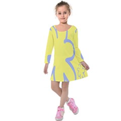 Doodle Shapes Large Flower Floral Grey Yellow Kids  Long Sleeve Velvet Dress by Alisyart