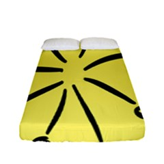 Doodle Shapes Large Line Circle Black Yellow Fitted Sheet (full/ Double Size) by Alisyart