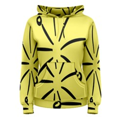 Doodle Shapes Large Line Circle Black Yellow Women s Pullover Hoodie