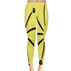 Doodle Shapes Large Line Circle Black Yellow Classic Winter Leggings