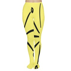Doodle Shapes Large Line Circle Black Yellow Women s Tights
