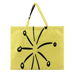 Doodle Shapes Large Line Circle Black Yellow Zipper Large Tote Bag by Alisyart