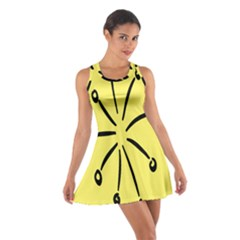 Doodle Shapes Large Line Circle Black Yellow Cotton Racerback Dress