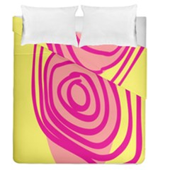 Doodle Shapes Large Line Circle Pink Red Yellow Duvet Cover Double Side (queen Size)