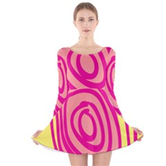 Doodle Shapes Large Line Circle Pink Red Yellow Long Sleeve Velvet Skater Dress
