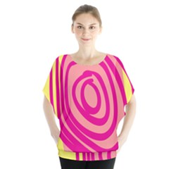 Doodle Shapes Large Line Circle Pink Red Yellow Blouse by Alisyart