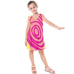 Doodle Shapes Large Line Circle Pink Red Yellow Kids  Sleeveless Dress