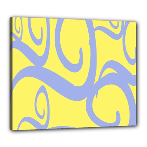 Doodle Shapes Large Waves Grey Yellow Chevron Canvas 24  X 20  by Alisyart