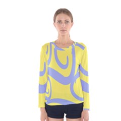 Doodle Shapes Large Waves Grey Yellow Chevron Women s Long Sleeve Tee by Alisyart