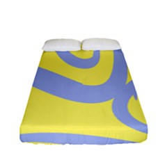Doodle Shapes Large Waves Grey Yellow Chevron Fitted Sheet (full/ Double Size)