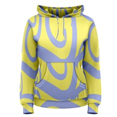 Doodle Shapes Large Waves Grey Yellow Chevron Women s Pullover Hoodie