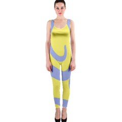 Doodle Shapes Large Waves Grey Yellow Chevron Onepiece Catsuit