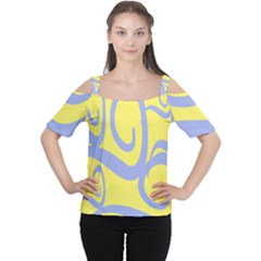 Doodle Shapes Large Waves Grey Yellow Chevron Women s Cutout Shoulder Tee by Alisyart
