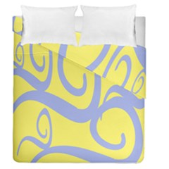 Doodle Shapes Large Waves Grey Yellow Chevron Duvet Cover Double Side (queen Size) by Alisyart