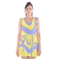 Doodle Shapes Large Waves Grey Yellow Chevron Scoop Neck Skater Dress by Alisyart