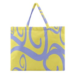 Doodle Shapes Large Waves Grey Yellow Chevron Zipper Large Tote Bag by Alisyart