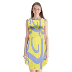 Doodle Shapes Large Waves Grey Yellow Chevron Sleeveless Chiffon Dress   by Alisyart