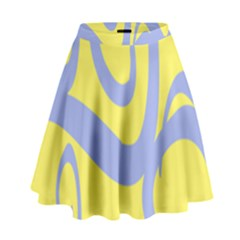 Doodle Shapes Large Waves Grey Yellow Chevron High Waist Skirt