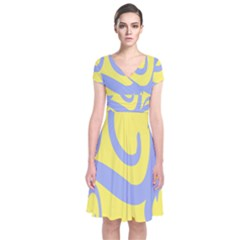 Doodle Shapes Large Waves Grey Yellow Chevron Short Sleeve Front Wrap Dress