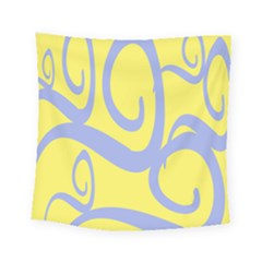 Doodle Shapes Large Waves Grey Yellow Chevron Square Tapestry (small) by Alisyart