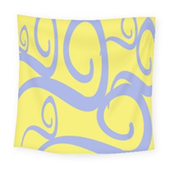 Doodle Shapes Large Waves Grey Yellow Chevron Square Tapestry (large) by Alisyart