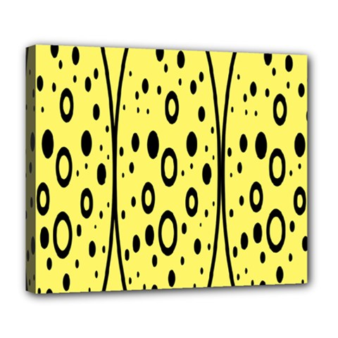 Easter Egg Shapes Large Wave Black Yellow Circle Dalmation Deluxe Canvas 24  X 20   by Alisyart