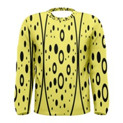 Easter Egg Shapes Large Wave Black Yellow Circle Dalmation Men s Long Sleeve Tee by Alisyart