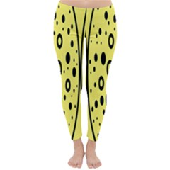 Easter Egg Shapes Large Wave Black Yellow Circle Dalmation Classic Winter Leggings