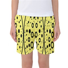Easter Egg Shapes Large Wave Black Yellow Circle Dalmation Women s Basketball Shorts by Alisyart