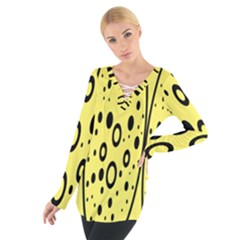 Easter Egg Shapes Large Wave Black Yellow Circle Dalmation Women s Tie Up Tee by Alisyart