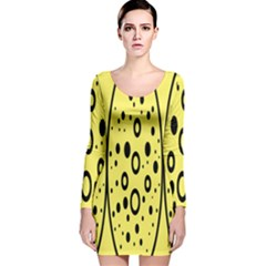 Easter Egg Shapes Large Wave Black Yellow Circle Dalmation Long Sleeve Velvet Bodycon Dress
