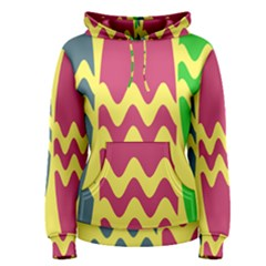 Easter Egg Shapes Large Wave Green Pink Blue Yellow Women s Pullover Hoodie