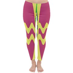 Easter Egg Shapes Large Wave Green Pink Blue Yellow Classic Winter Leggings