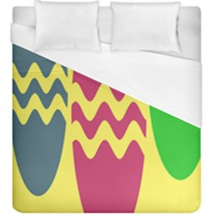 Easter Egg Shapes Large Wave Green Pink Blue Yellow Duvet Cover (king Size) by Alisyart
