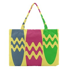Easter Egg Shapes Large Wave Green Pink Blue Yellow Medium Tote Bag