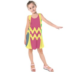 Easter Egg Shapes Large Wave Green Pink Blue Yellow Kids  Sleeveless Dress