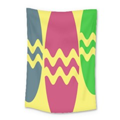 Easter Egg Shapes Large Wave Green Pink Blue Yellow Small Tapestry by Alisyart