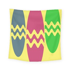 Easter Egg Shapes Large Wave Green Pink Blue Yellow Square Tapestry (small) by Alisyart