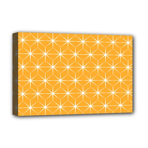 Yellow Stars Light White Orange Deluxe Canvas 18  X 12   by Alisyart