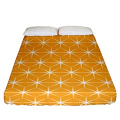 Yellow Stars Light White Orange Fitted Sheet (queen Size) by Alisyart