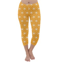 Yellow Stars Light White Orange Capri Winter Leggings
