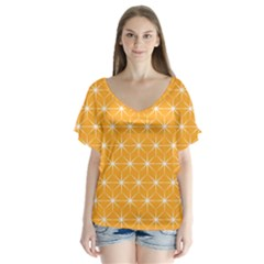 Yellow Stars Light White Orange Flutter Sleeve Top