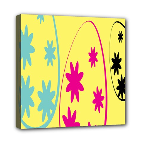 Easter Egg Shapes Large Wave Green Pink Blue Yellow Black Floral Star Mini Canvas 8  X 8