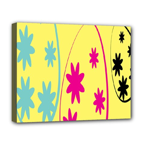 Easter Egg Shapes Large Wave Green Pink Blue Yellow Black Floral Star Deluxe Canvas 20  X 16   by Alisyart