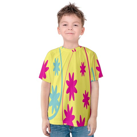 Easter Egg Shapes Large Wave Green Pink Blue Yellow Black Floral Star Kids  Cotton Tee by Alisyart