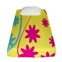 Easter Egg Shapes Large Wave Green Pink Blue Yellow Black Floral Star Fitted Sheet (single Size)